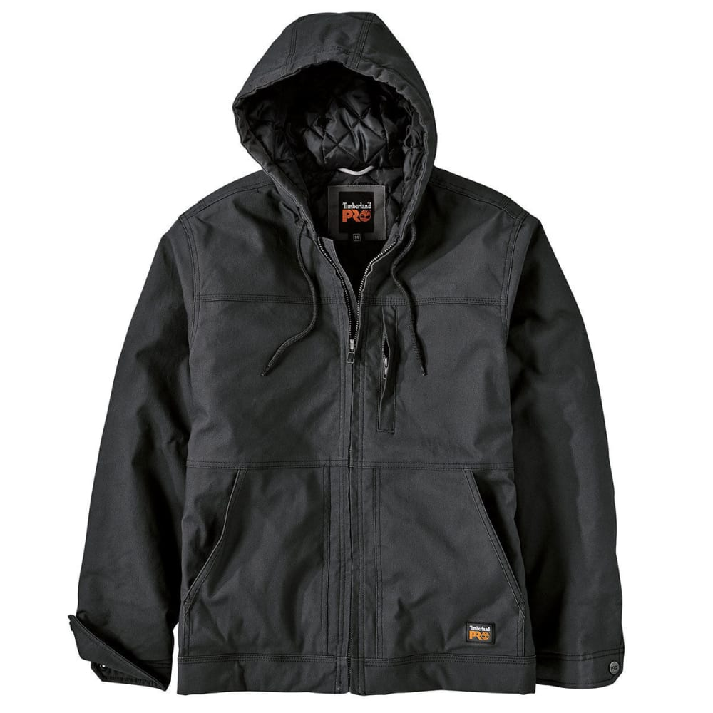 TIMBERLAND PRO Men's Baluster Hooded Insulated Canvas Work Jacket - 015 BLACK