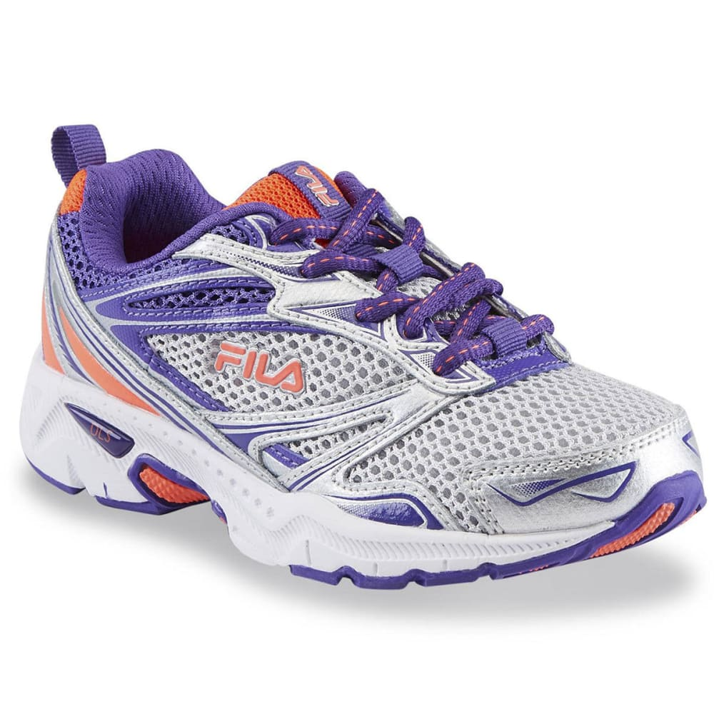 FILA Girls' Royalty Running Shoes, Metallic Silver/Purple - SILVER/PURPLE