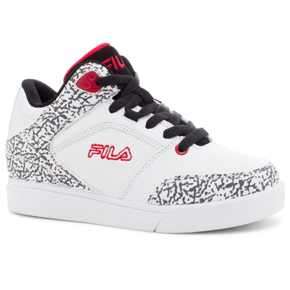 FILA Boys' Falina Basketball Shoes, White/Black/Red - WHITE/BLK/RED