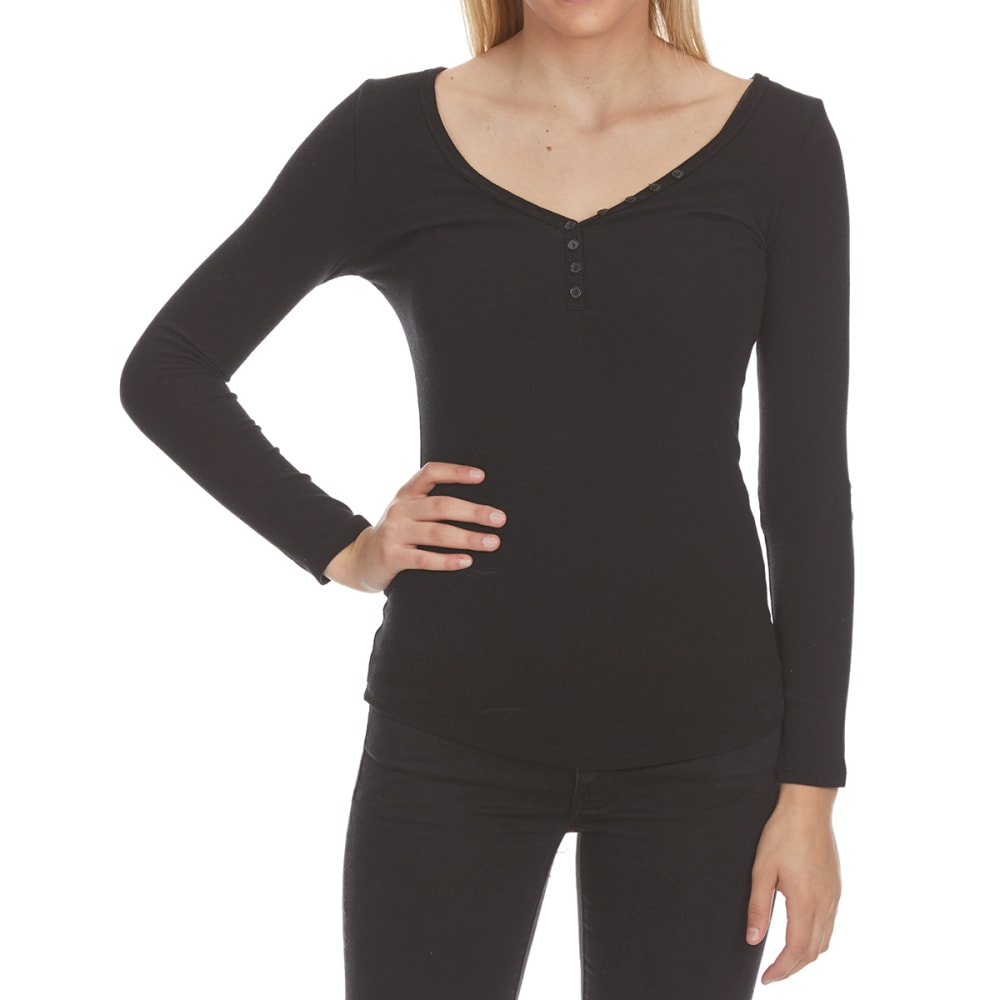 Ambiance Juniors V-Neck Long-Sleeve Henley - Black, M