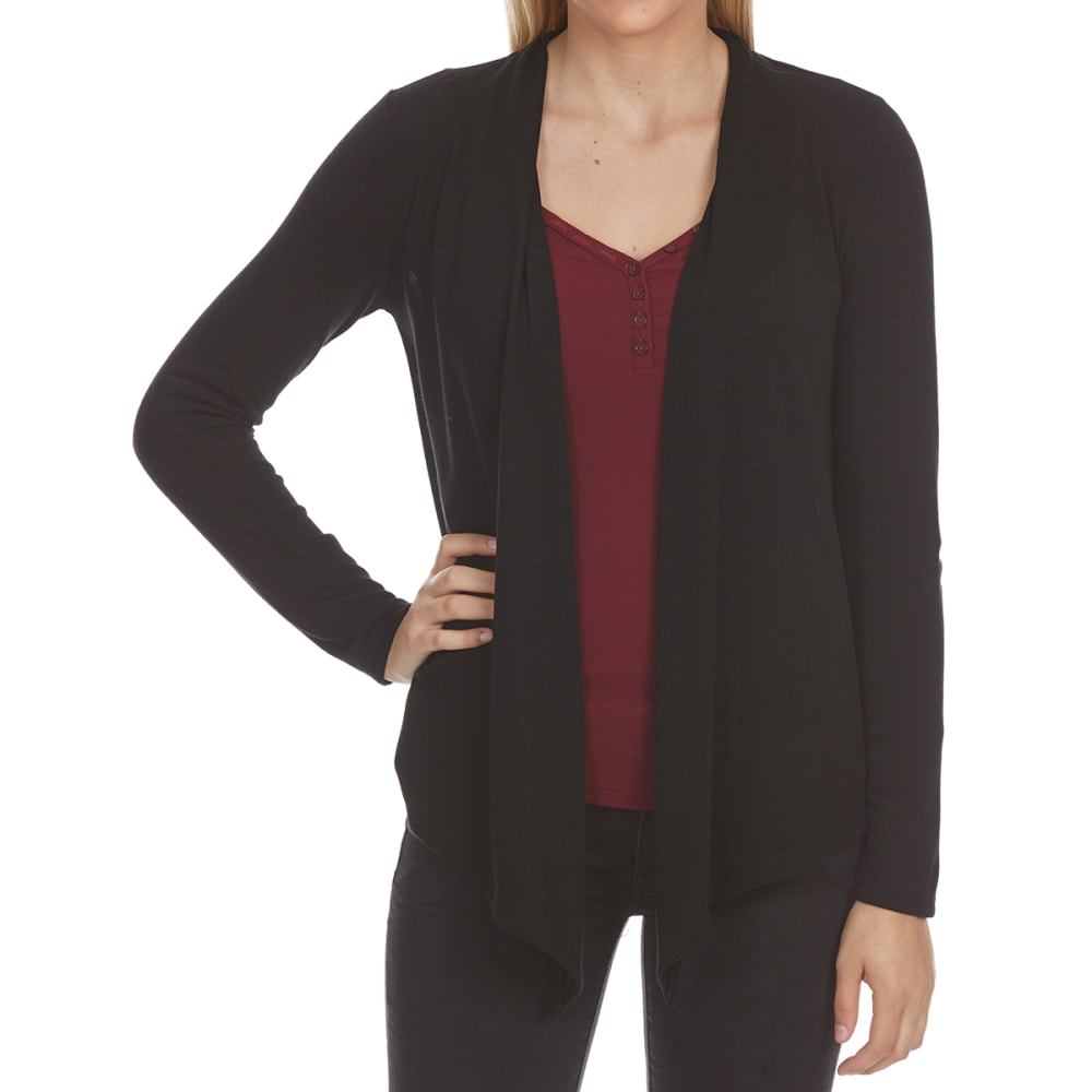 AMBIANCE Juniors' Long-Sleeve Fly Away Cardigan - BLACK