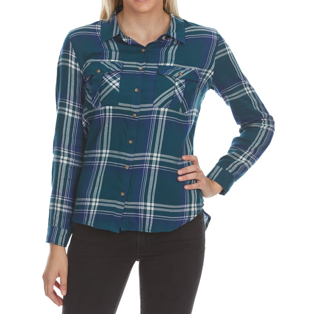AMBIANCE Juniors' Long-Sleeve Double Pocket Plaid Shirt L