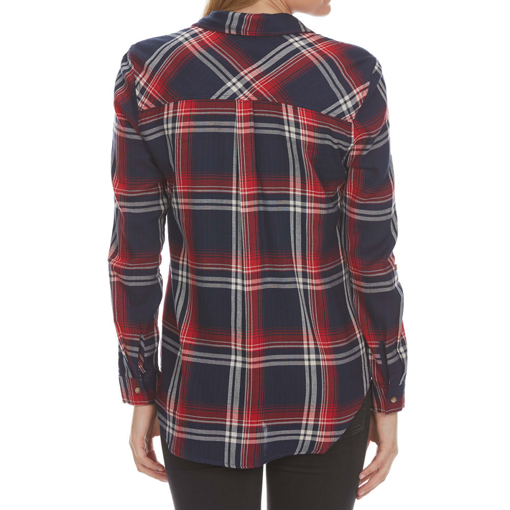 AMBIANCE Juniors' Long-Sleeve Double Pocket Plaid Shirt - NAVY/RED