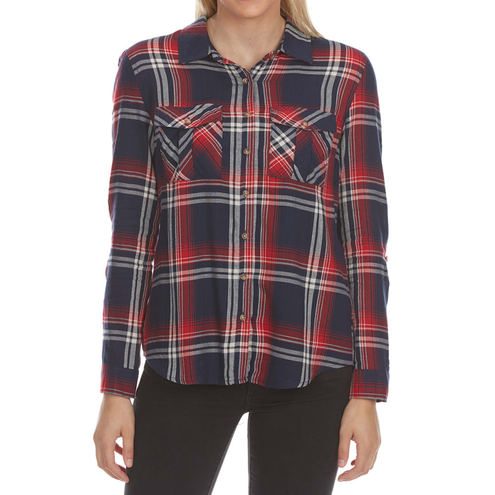 Ambiance Juniors Long-Sleeve Double Pocket Plaid Shirt - Blue, S
