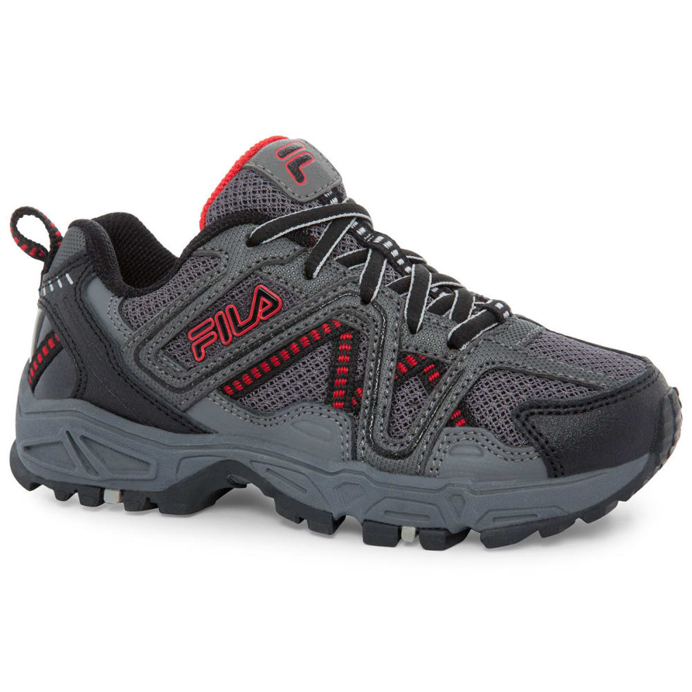 FILA Boys' Ascente 15 Running Shoes, Black/Grey/Red - BLACK/GRY/RED