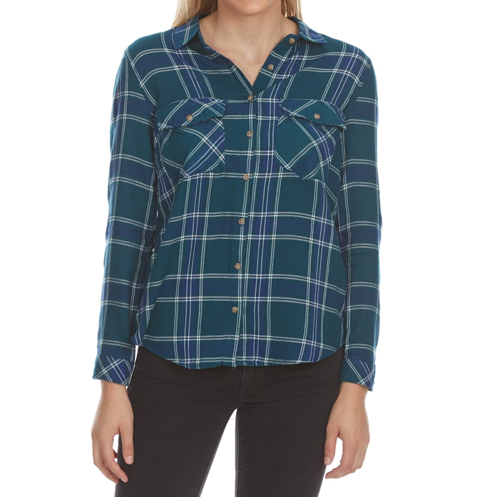 Ambiance Apparel Juniors' Flap Pocket Plaid Long-Sleeve Shirt - Green, S