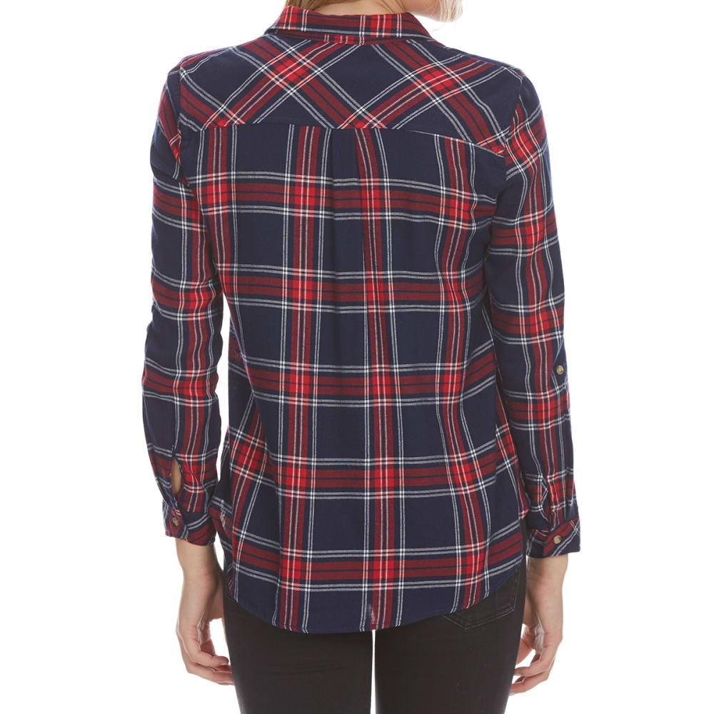 AMBIANCE APPAREL Juniors' Flap Pocket Plaid Long-Sleeve Shirt - NAVY/RED