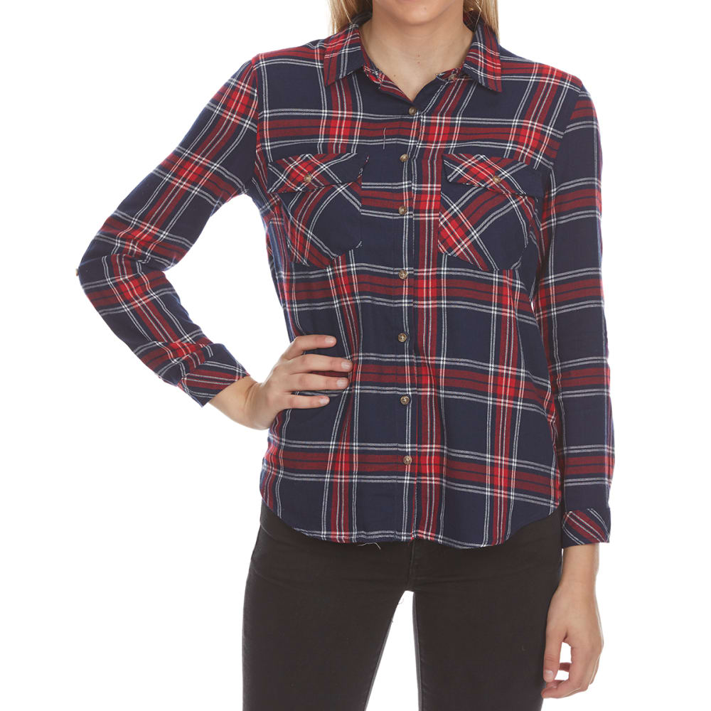 Ambiance Apparel Juniors Flap Pocket Plaid Long-Sleeve Shirt - Blue, S
