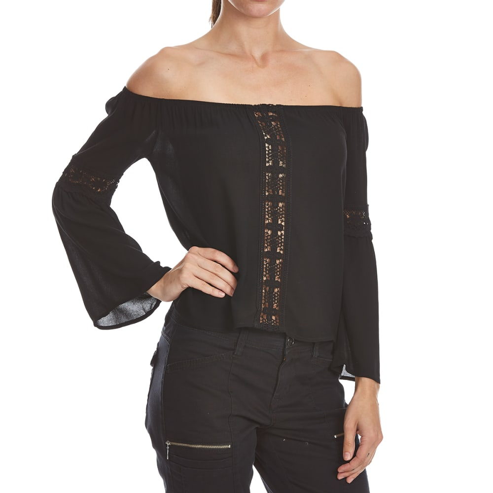 AMBIANCE Juniors' Off The Shoulder Crochet Lace Woven Top - BLACK
