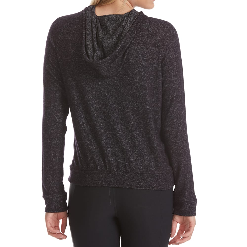 AMBIANCE APPAREL Juniors' Hacci Long-Sleeve Pullover - BLACK
