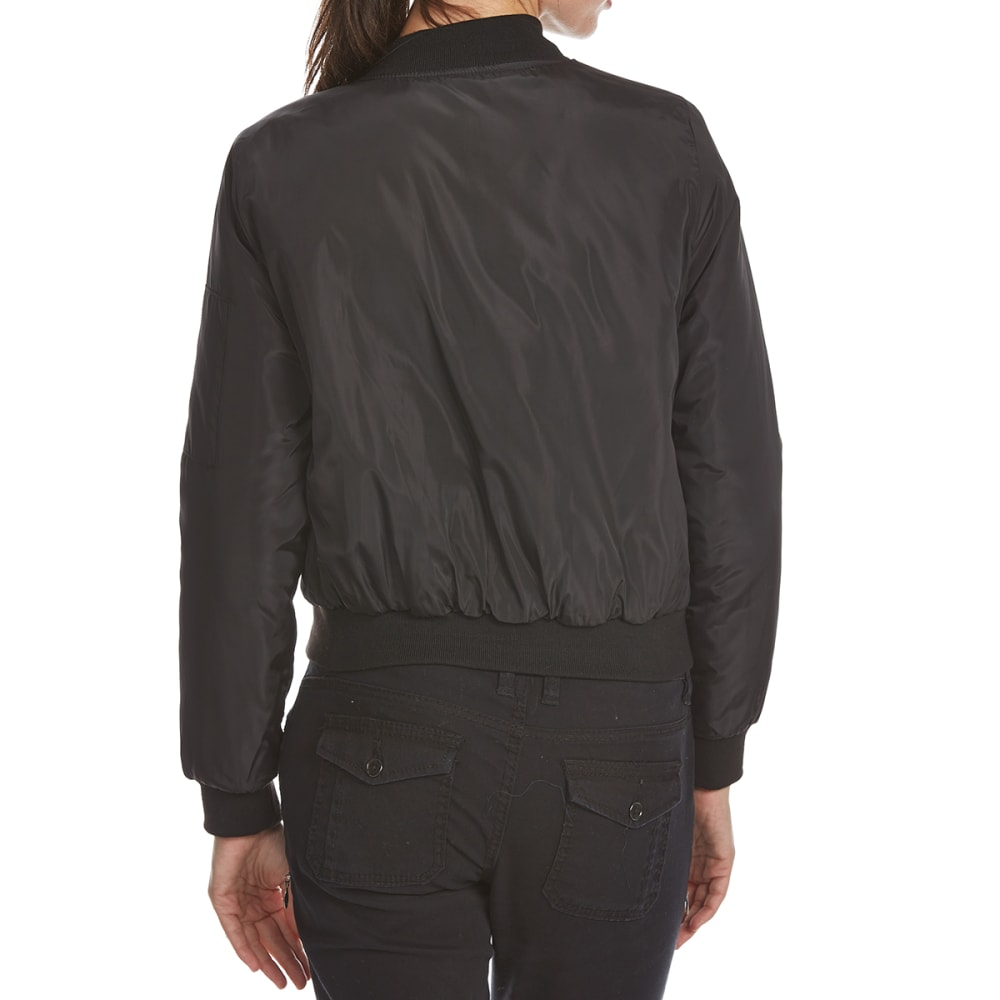AMBIANCE APPAREL Juniors' Bomber Flight Jacket - BLACK