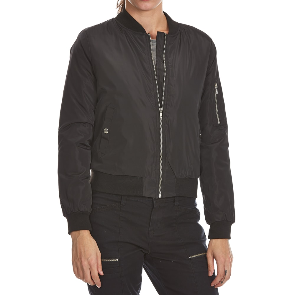 Ambiance Apparel Juniors Bomber Flight Jacket - Black, S