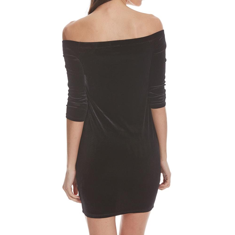 AMBIANCE APPAREL Juniors' Off-Shoulder Velvet Bodycon Dress - BLACK
