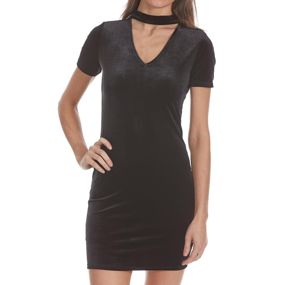 AMBIANCE APPAREL Juniors' Choker Neck Velvet Short-Sleeve Bodycon Dress - BLACK