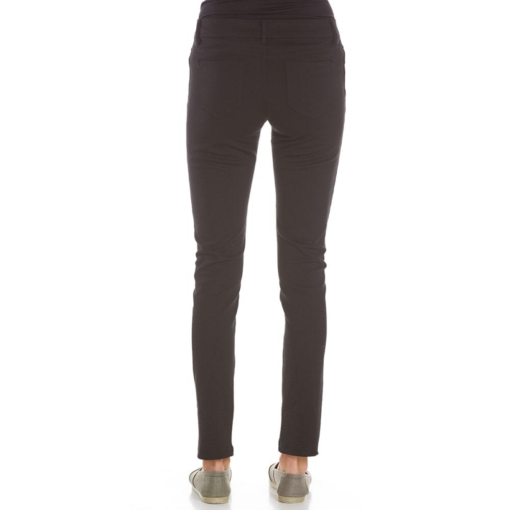 AMBIANCE APPAREL Juniors' 5-Pocket Ponte Pants - BLACK