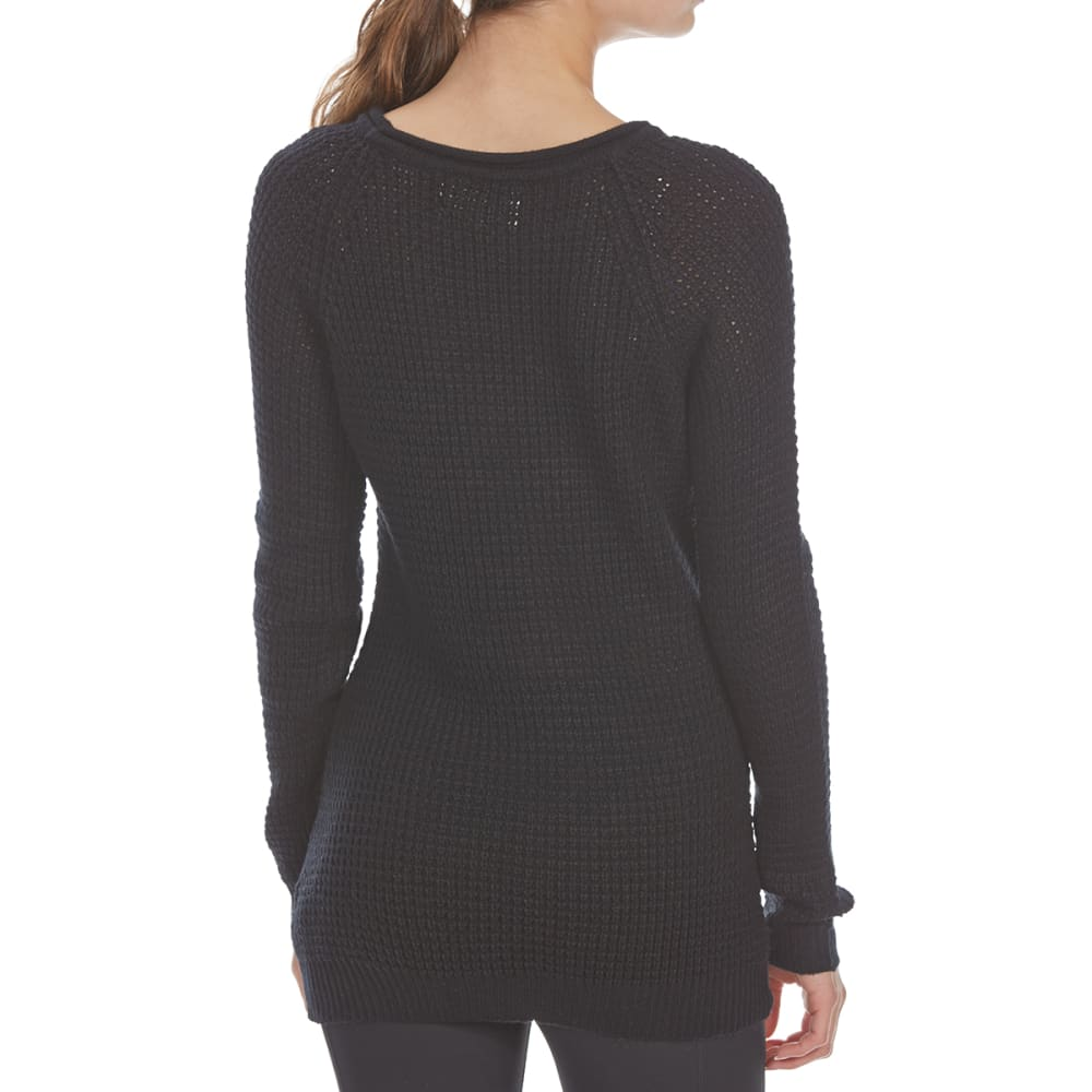AMBIANCE APPAREL Juniors' Waffle Long-Sleeve Sweater - BLACK