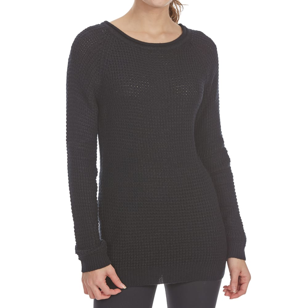 Ambiance Apparel Juniors Waffle Long-Sleeve Sweater - Black, S