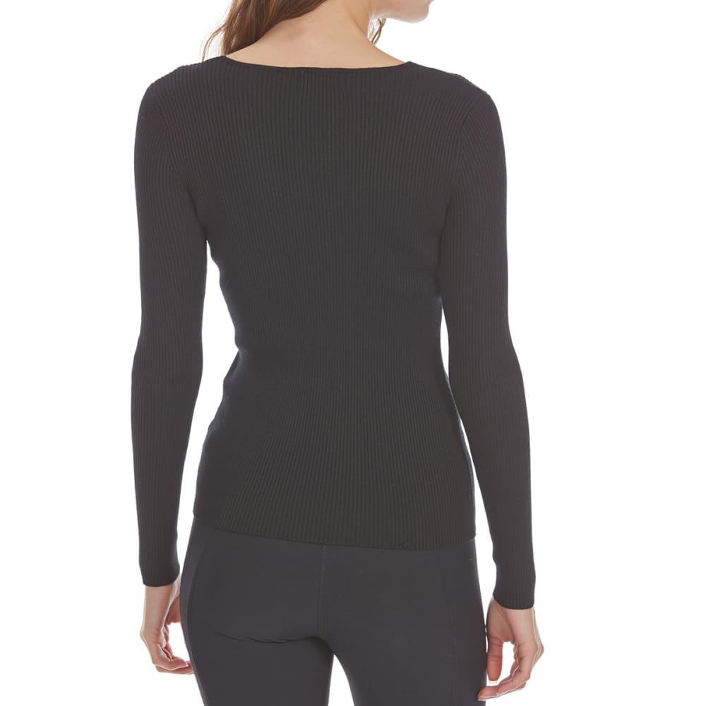 AMBIANCE APPAREL Juniors' Rib Knit V-Neck Long-Sleeve Sweater - BLACK