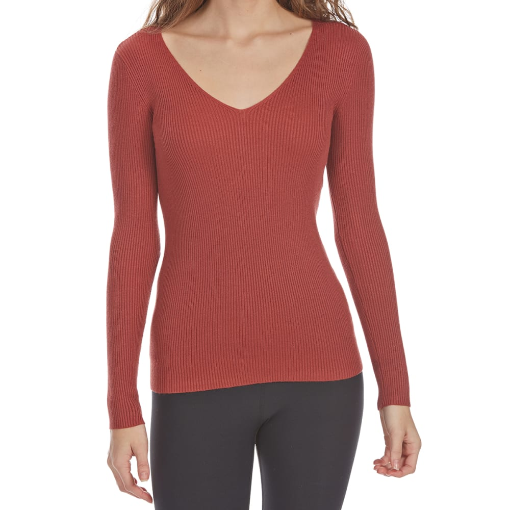 AMBIANCE APPAREL Juniors' Rib Knit V-Neck Long-Sleeve Sweater - MARSALA