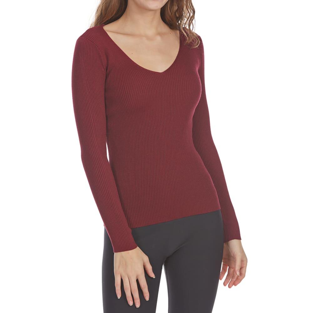 AMBIANCE APPAREL Juniors' Rib Knit V-Neck Long-Sleeve Sweater - BURGUNDY
