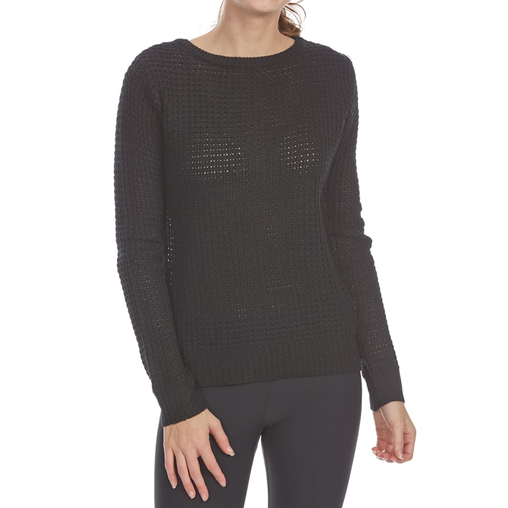 AMBIANCE APPAREL Juniors' Cage Back Waffle Long-Sleeve Sweater - BLACK
