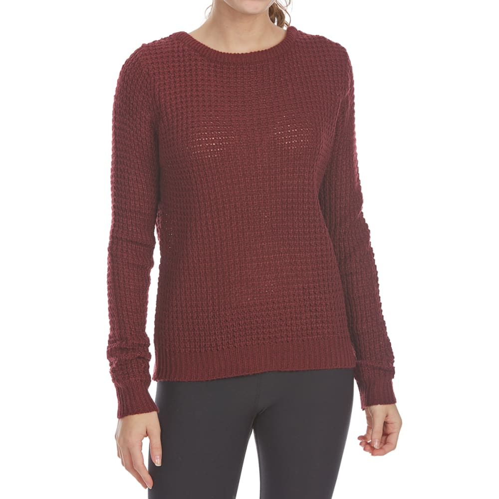 AMBIANCE APPAREL Juniors' Cage Back Waffle Long-Sleeve Sweater - BURGUNDY