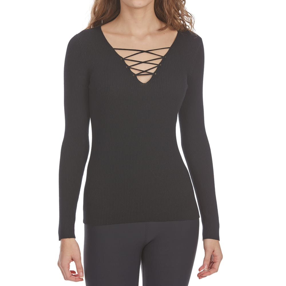 AMBIANCE APPAREL Juniors' Lace-Up Ribbed Long-Sleeve Sweater - BLACK