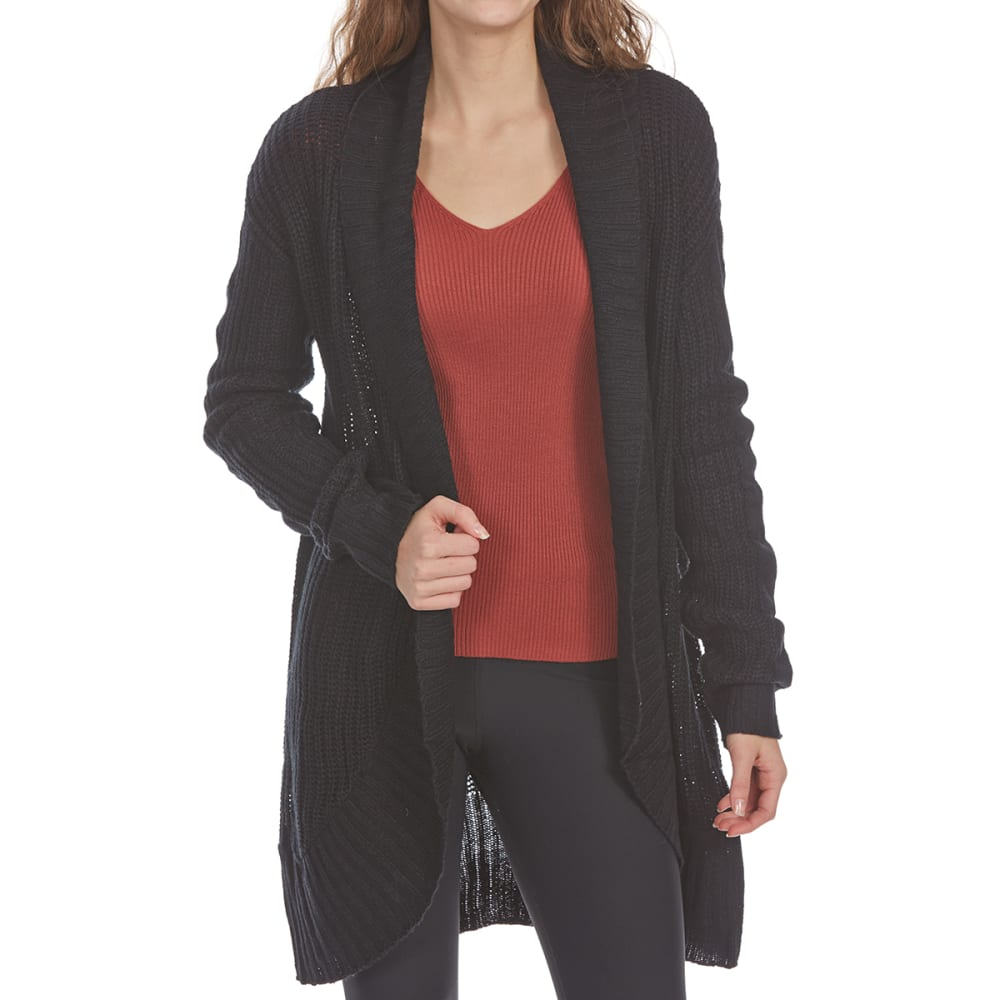 Ambiance Apparel Juniors Shawl Collar Open Cardigan - Black, S