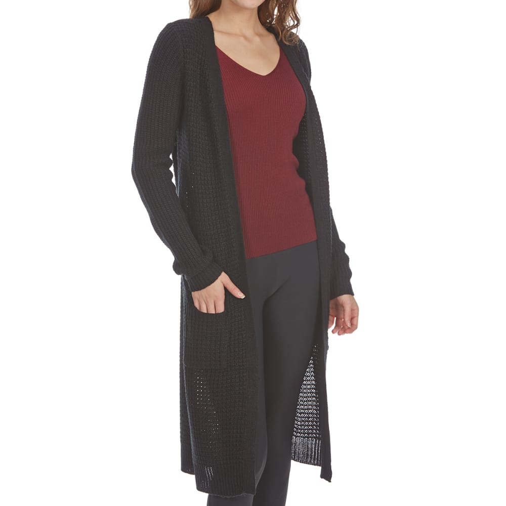 AMBIANCE APPAREL Juniors' Waffle Duster with Pockets - BLACK