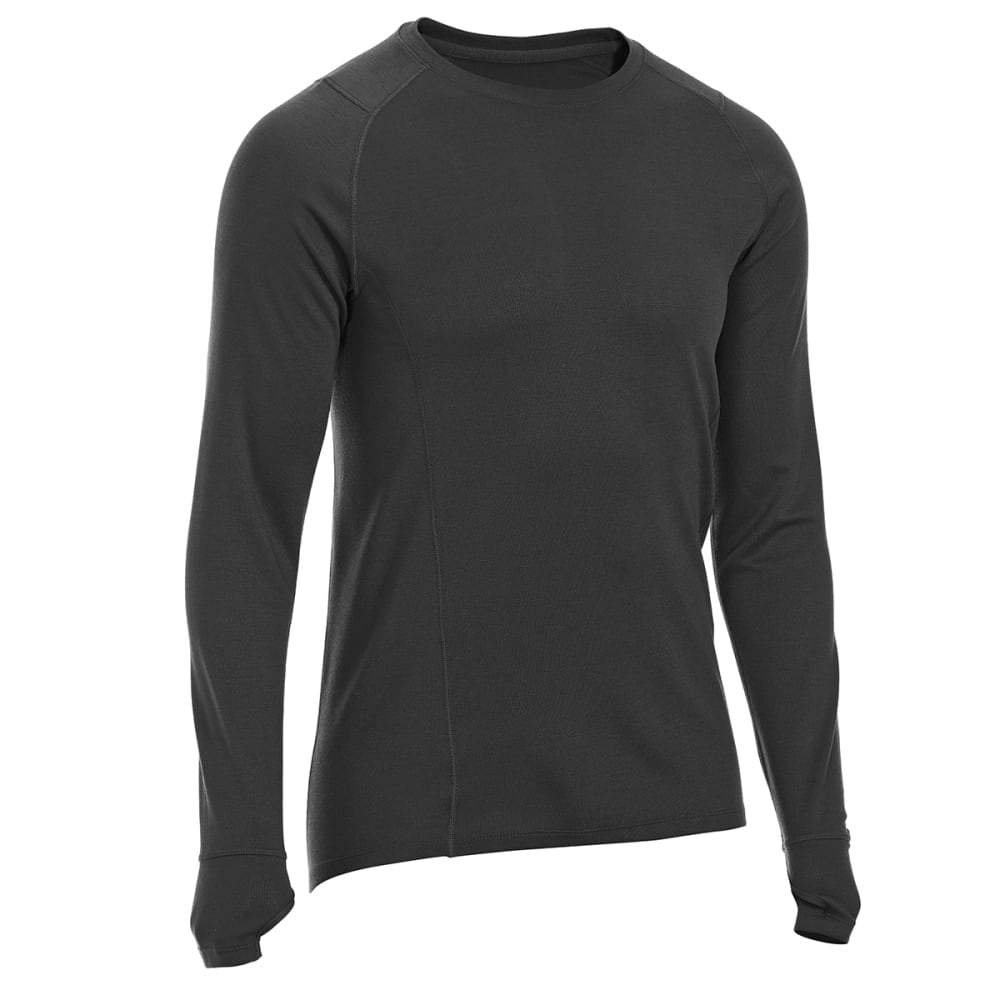 EMS Men's Techwick Midweight Long-Sleeve Crew Base Layer - BLACK