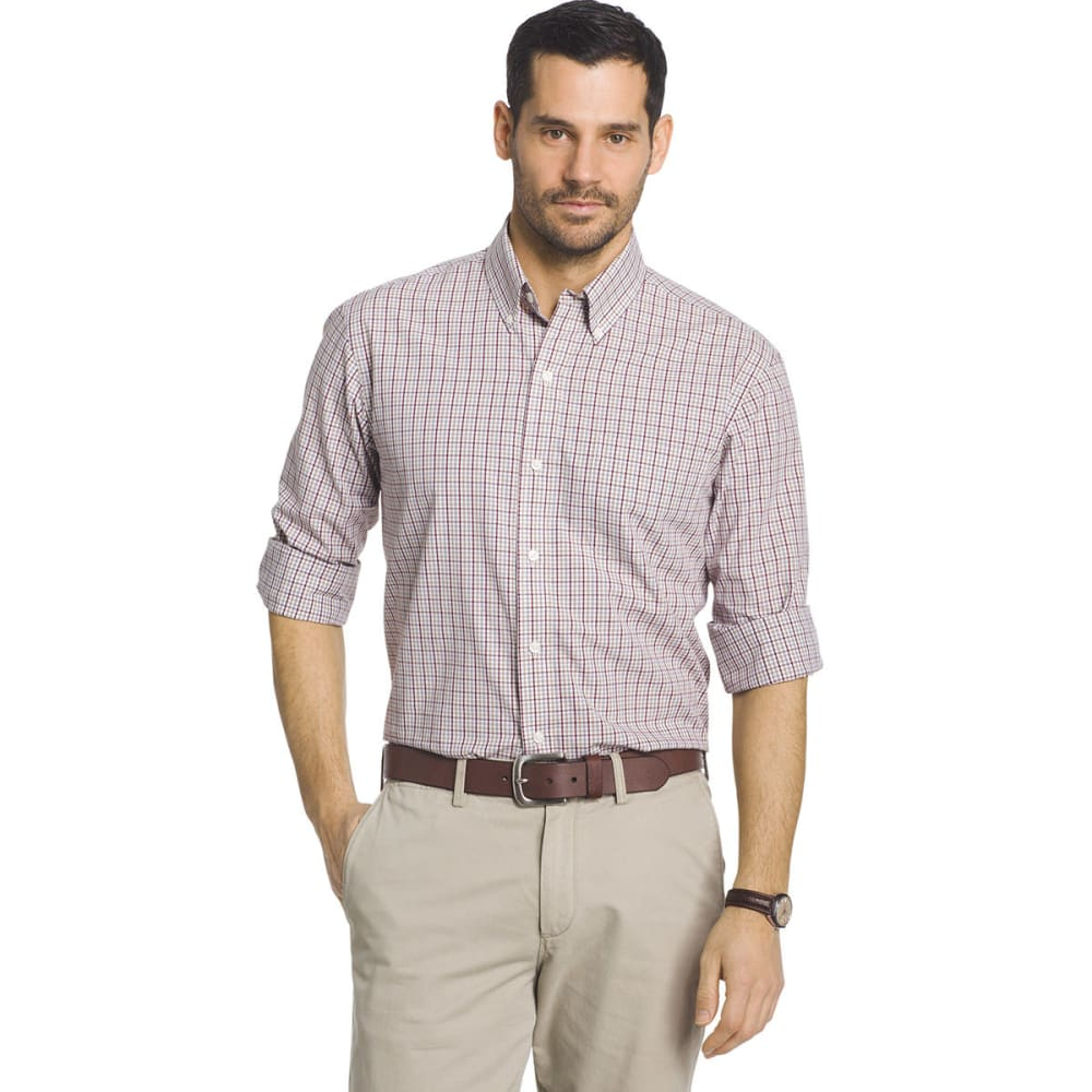 ARROW Men's Hamilton Plaid Long-Sleeve Woven Shirt - RED WINTER BURG-607