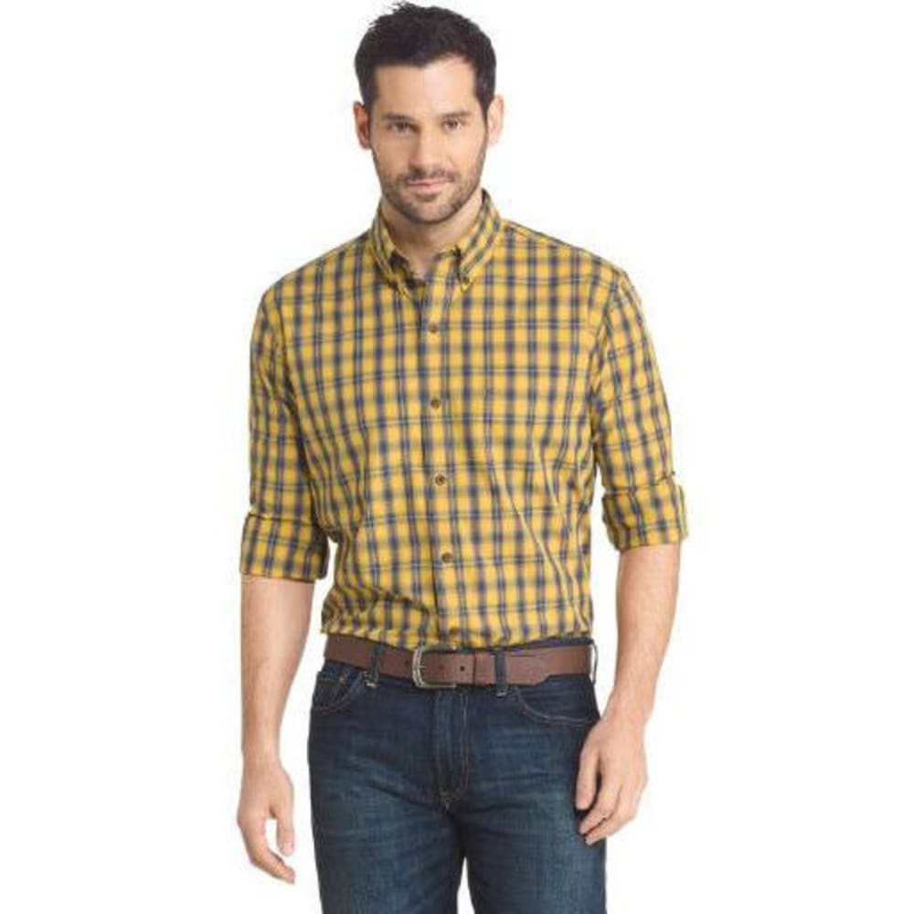 Arrow Men's Blazer Heather Plaid Woven Long-Sleeve Shirt - Yellow, M