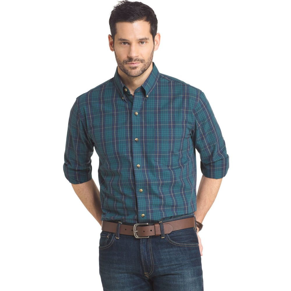 ARROW Men's Blazer Heather Plaid Woven Long-Sleeve Shirt - ATLANTIC DEEP-440