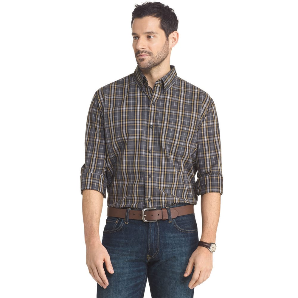 ARROR Men's Plaid Button Down Woven Shirt - ASPHALT HTR-034