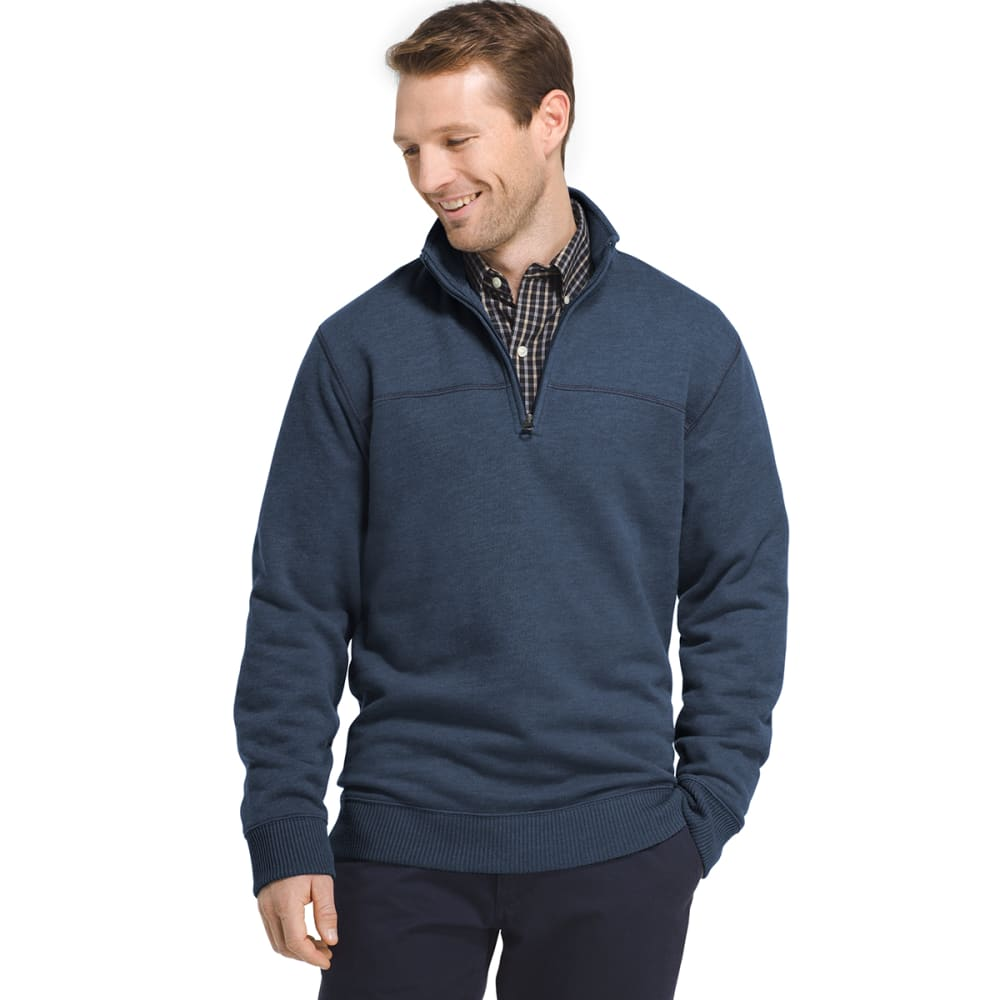 Arrow Men's Sueded  1/4-Zip Fleece Long-Sleeve Pullover - Blue, M