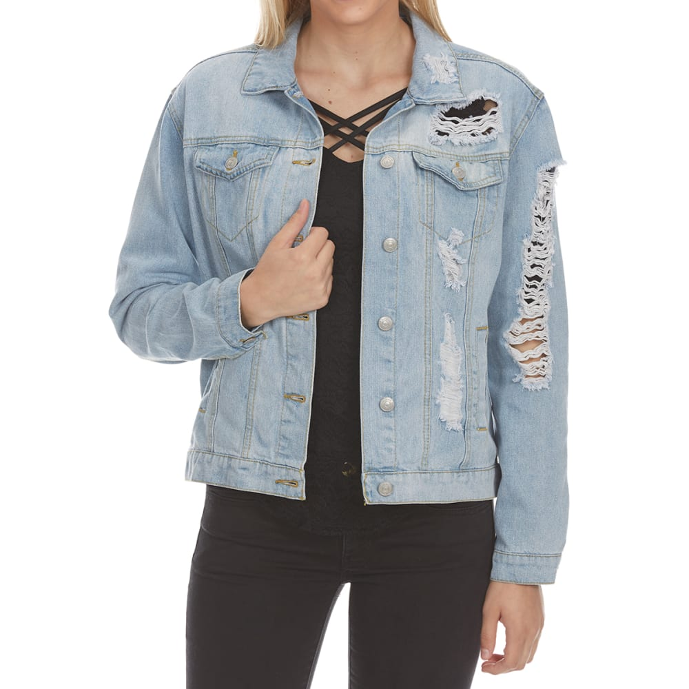 Almost Famous Juniors Oversized Denim Jacket - Blue, S