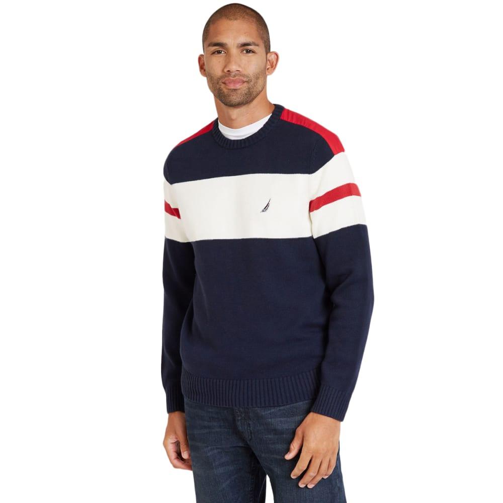 Nautica Men's Striped Crew Long-Sleeve Sweater - Blue, L
