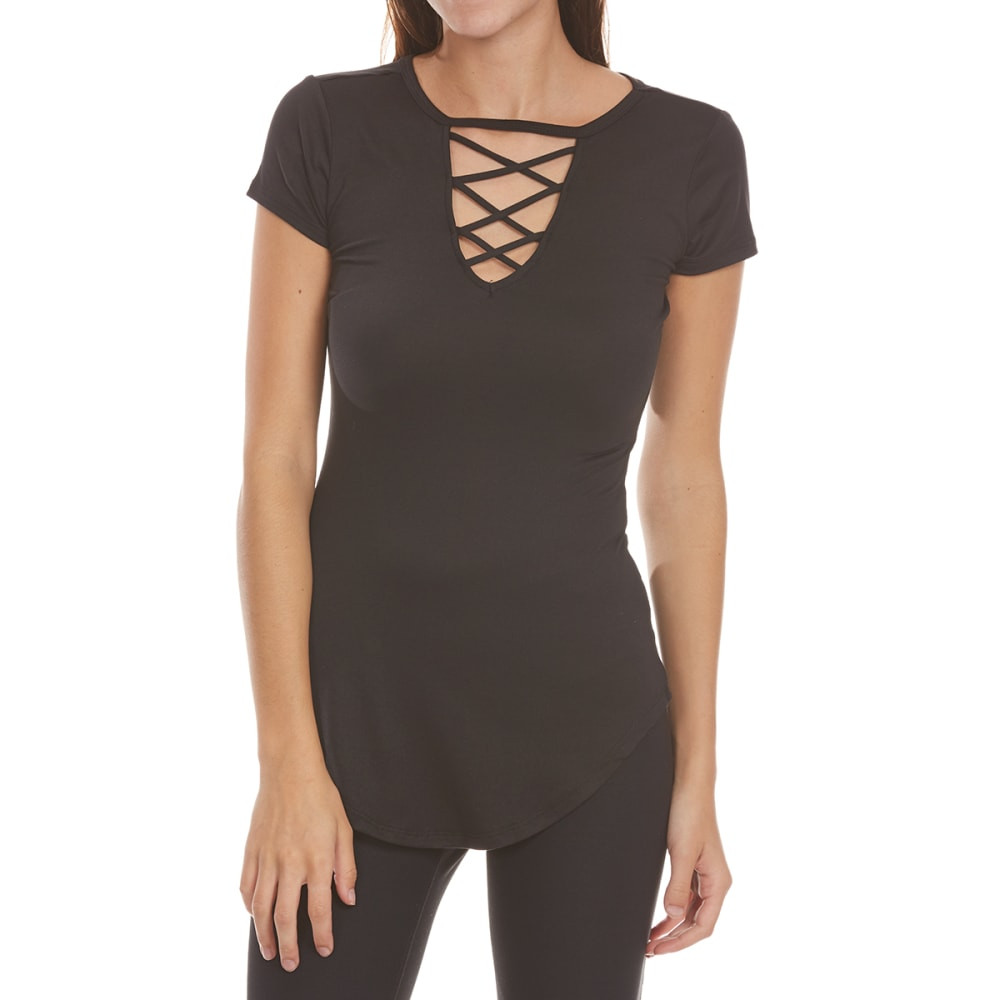 ALMOST FAMOUS Juniors' Solid Choker Cage-Front Peached Tunic Top - BLACK