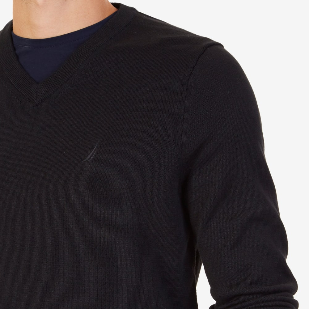 NAUTICA Men's V-Neck Sweater - BLACK-OTB