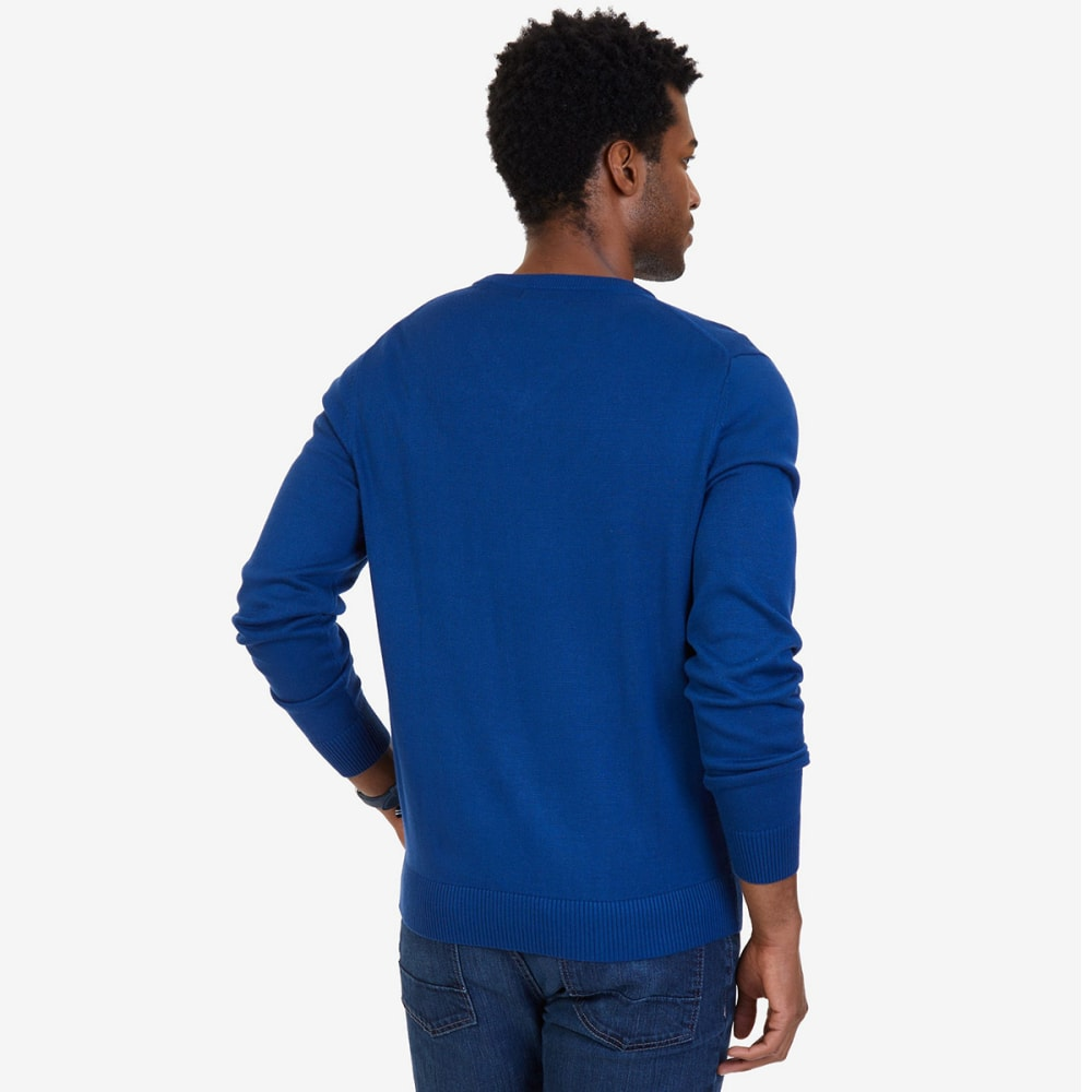 NAUTICA Men's V-Neck Sweater - ESTATE BLUE-4ES