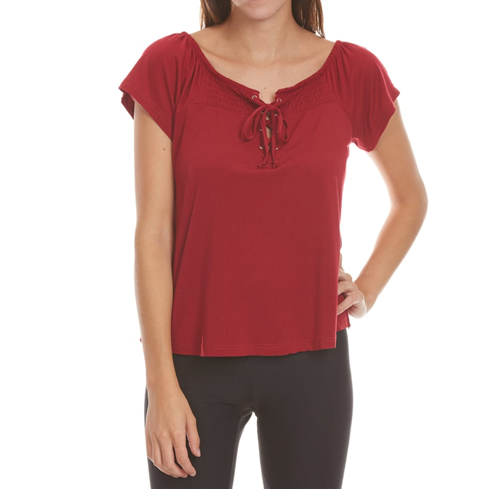 ALMOST FAMOUS Juniors' Lace-Up Smocked Top - RHUBARB