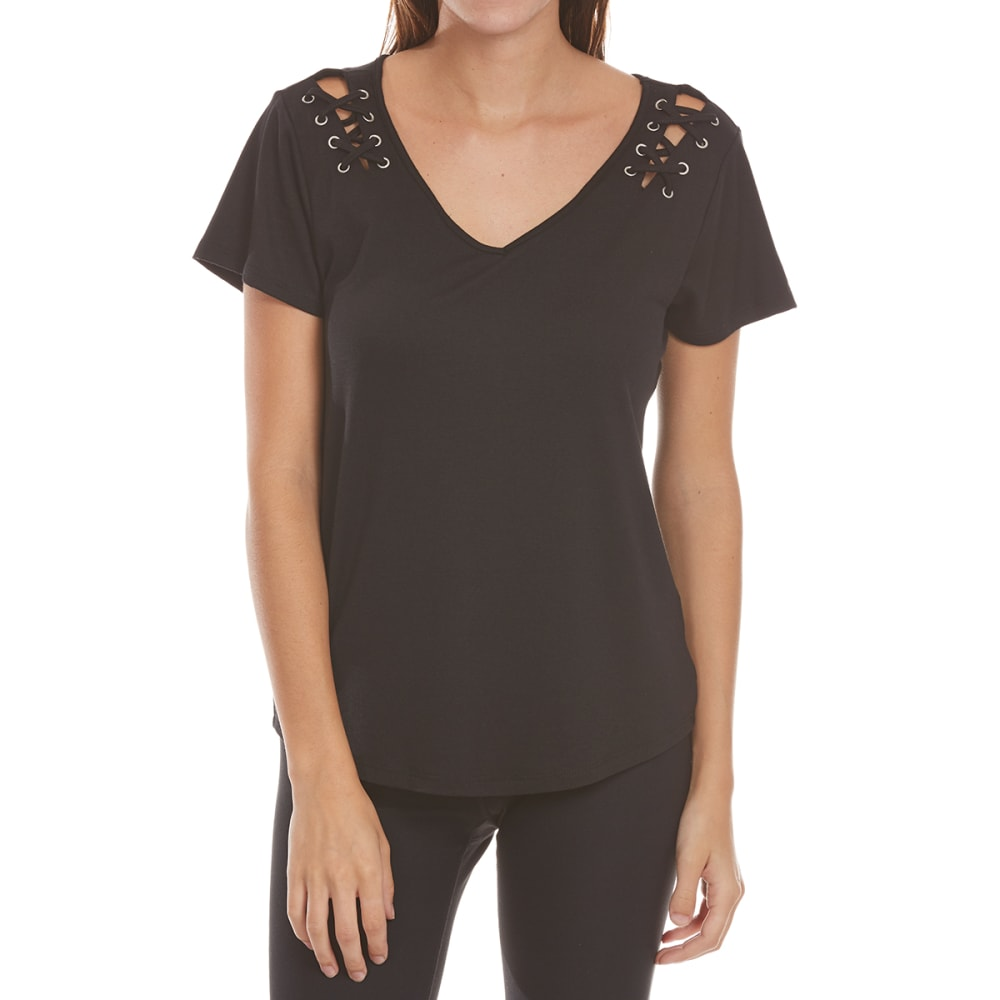 Almost Famous Juniors Lace-Up Shoulder V-Neck Tee - Black, S