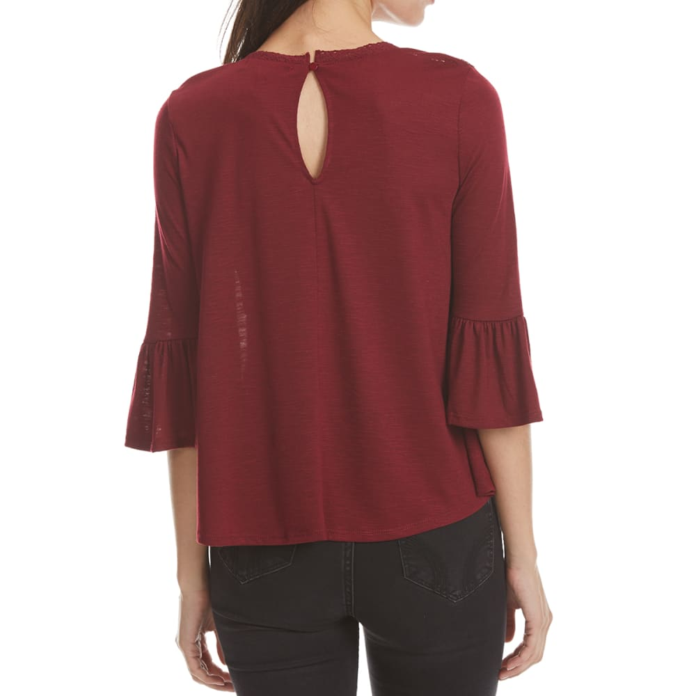 ALMOST FAMOUS Juniors' Embroidered Yoke Peasant Top - WINE