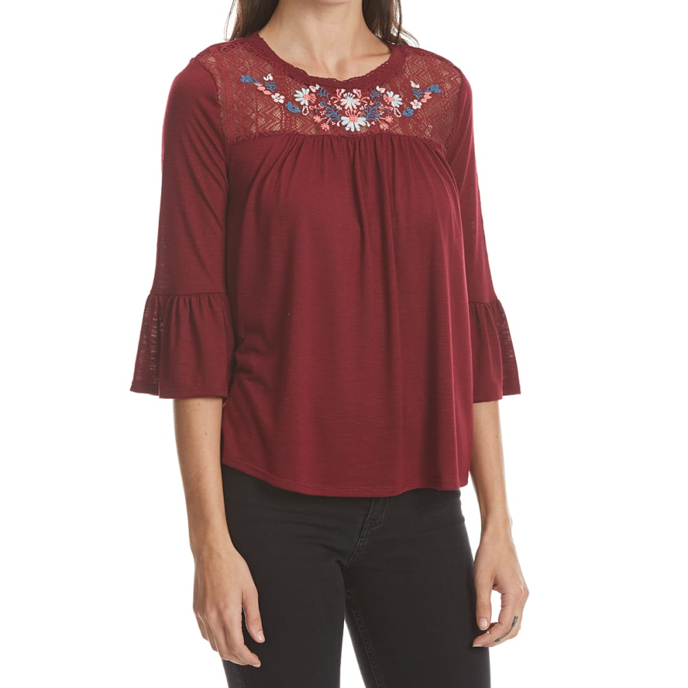 Almost Famous Juniors Embroidered Yoke Peasant Top