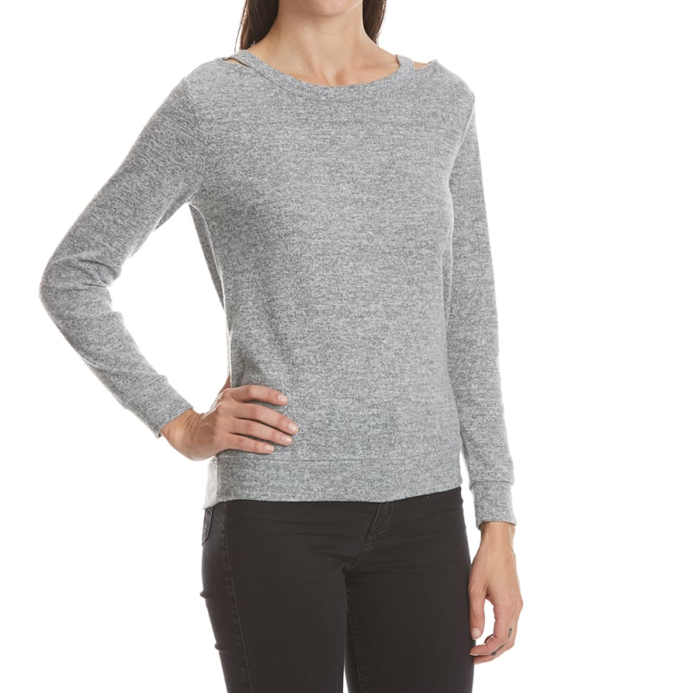 ALMOST FAMOUS Juniors' Cutout Detail Hacci Pullover - GREY HEATHER
