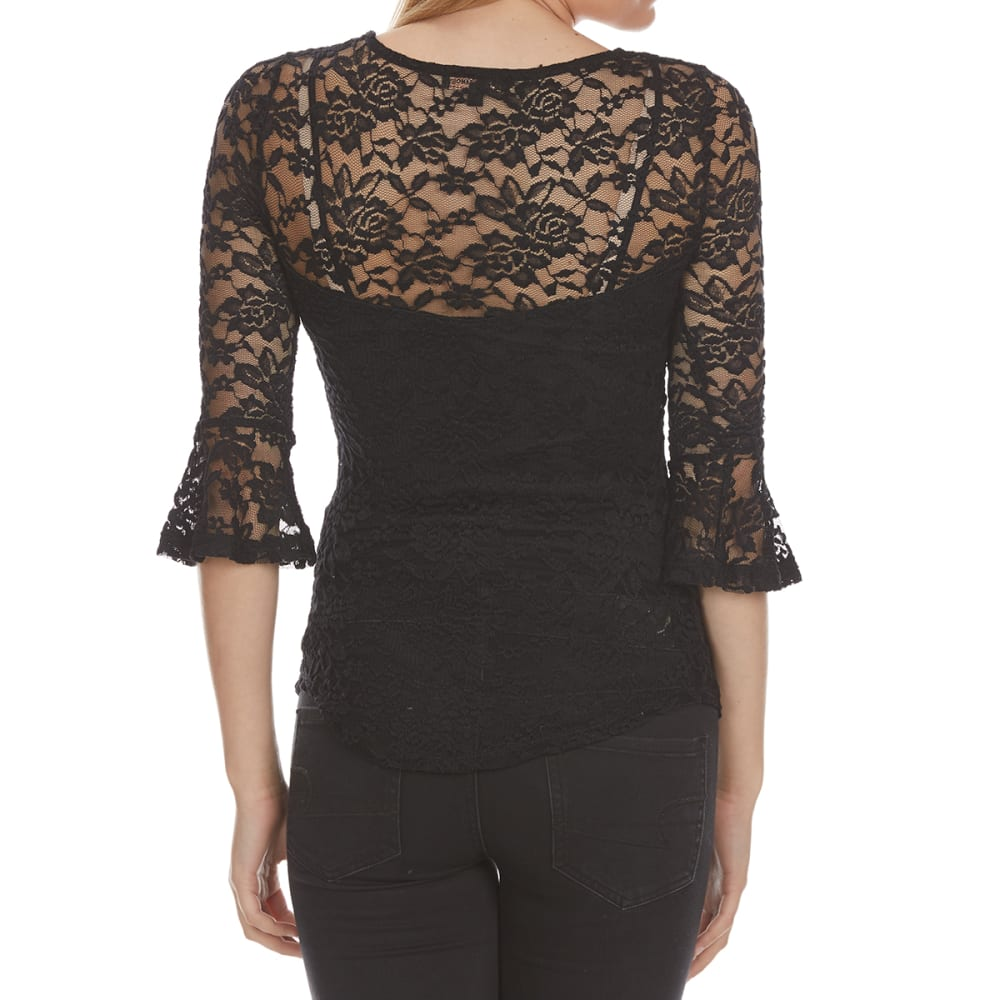 ALMOST FAMOUS Juniors' Lace X-Front Flounce Sleeve Top - BLACK