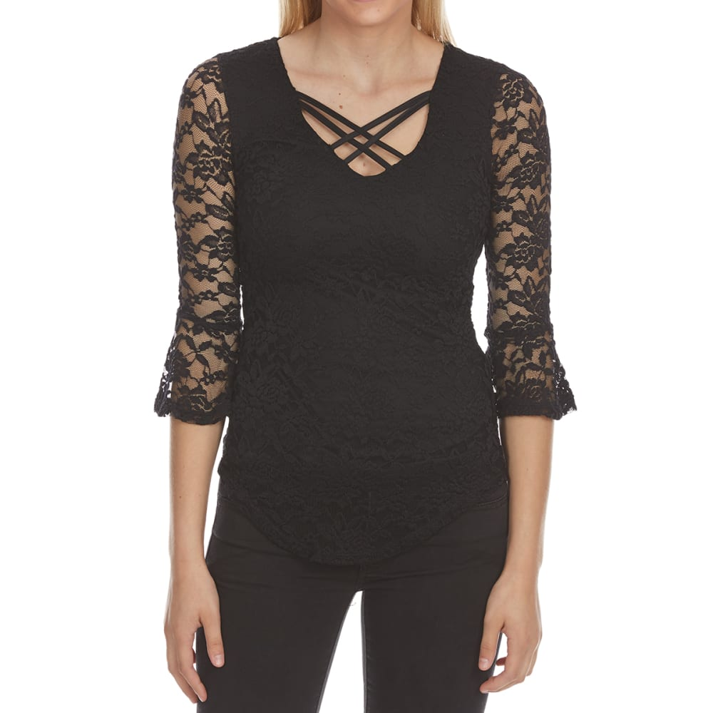 Almost Famous Juniors Lace X-Front Flounce Sleeve Top - Black, S