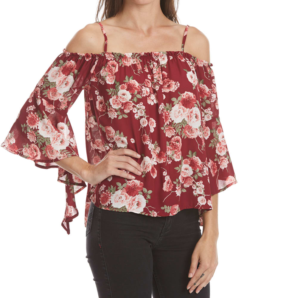 ALMOST FAMOUS Juniors' Printed Off-Shoulder Flare-Sleeve Top - CABERNET COMBO