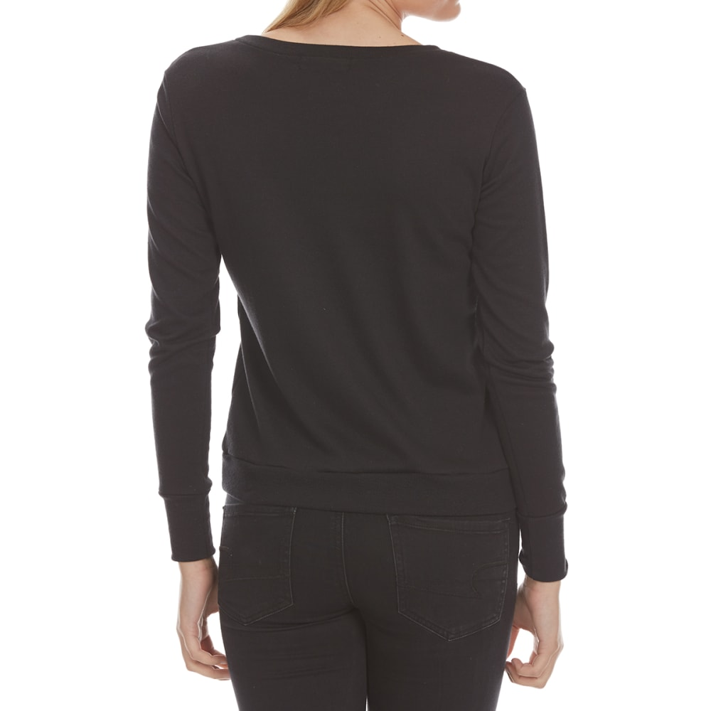 ALMOST FAMOUS Juniors' X-Front French Terry Long-Sleeve Pullover - BLACK