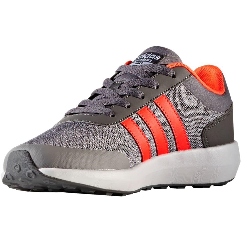 ADIDAS Boys' Cloudfoam Race Running Shoes, Gray/Solar Red - GREY